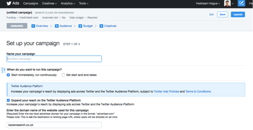 Screenshot of Twitter Ads Dashboard