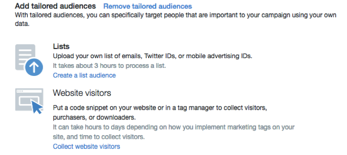 Create New Audience List in Twitter Ads Screenshot