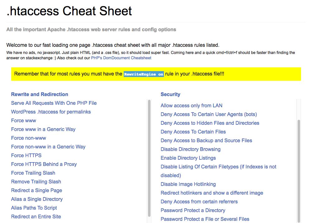 Htaccess Cheat Sheet for SEO